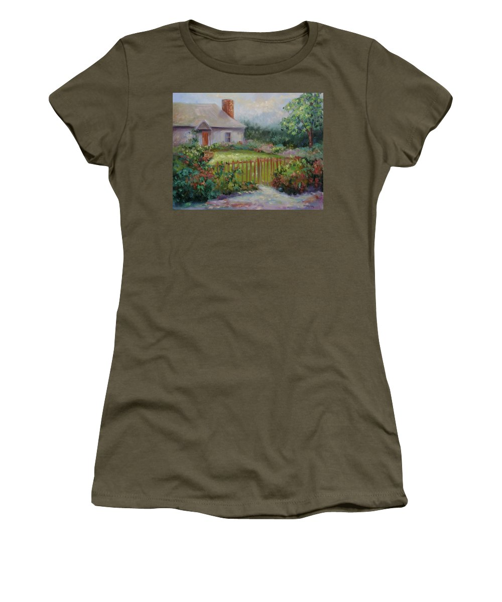 Cottswold Women's T-Shirt (Athletic Fit) featuring the painting Cottswold Cottage by Ginger Concepcion