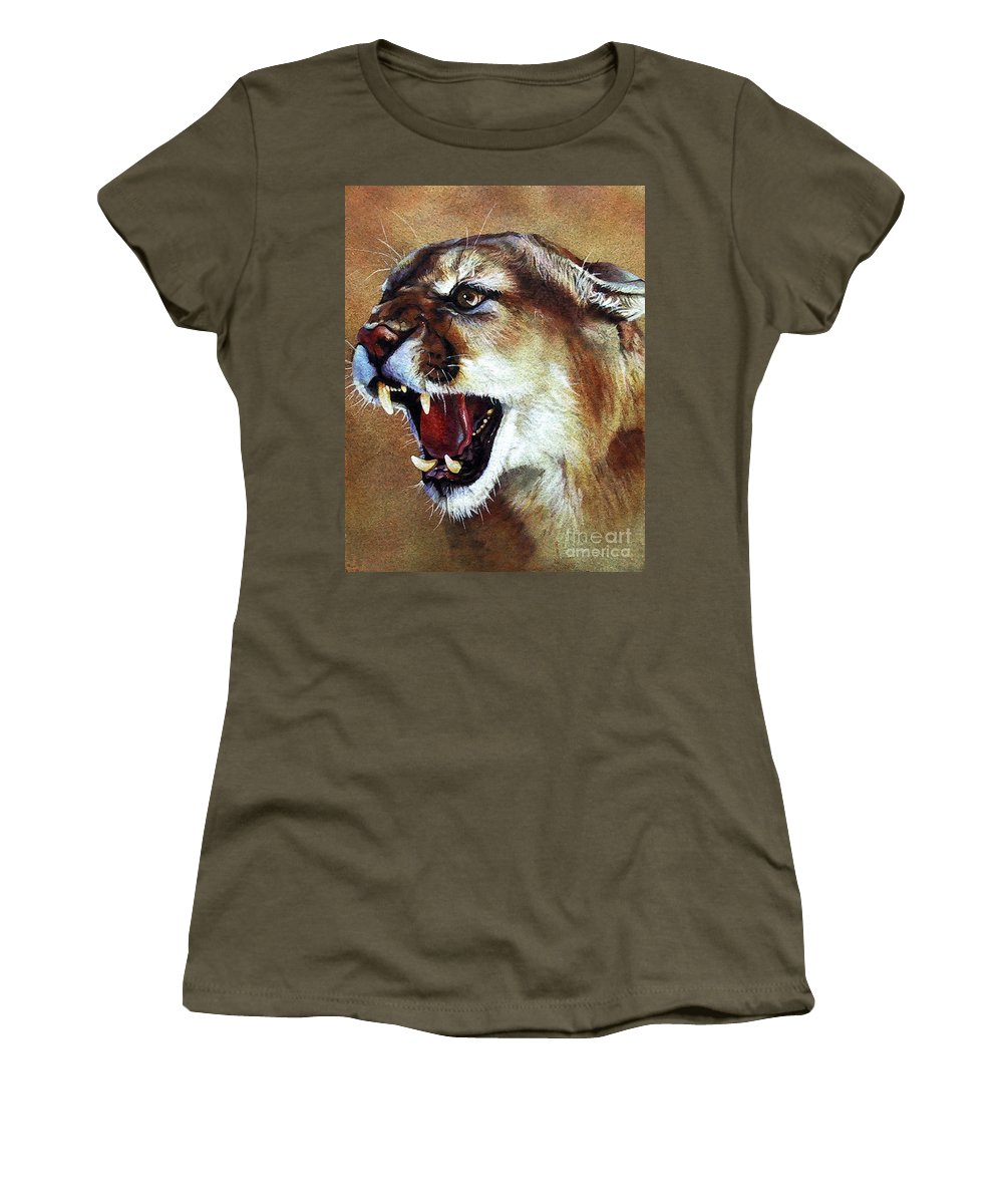 Southwest Art Women's T-Shirt (Athletic Fit) featuring the painting Cougar by J W Baker