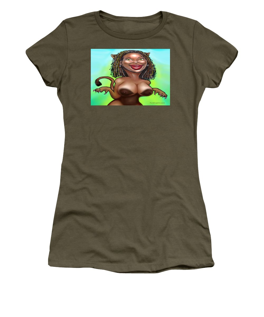 Cougar Women's T-Shirt featuring the greeting card Cougarlicious by Kevin Middleton