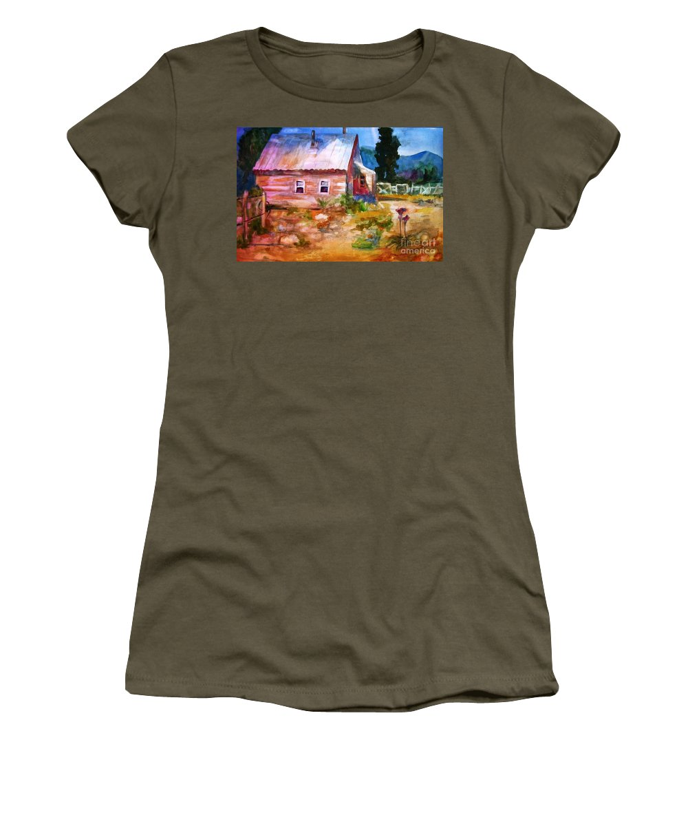 Cottage Women's T-Shirt featuring the painting Country House by Frances Marino