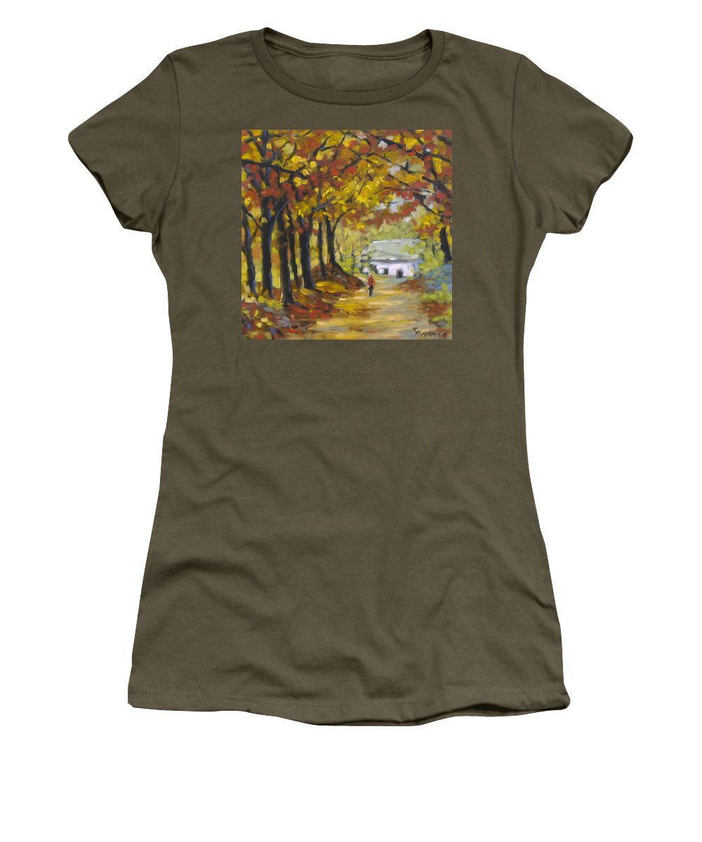 Art Women's T-Shirt (Athletic Fit) featuring the painting Country Lane by Richard T Pranke