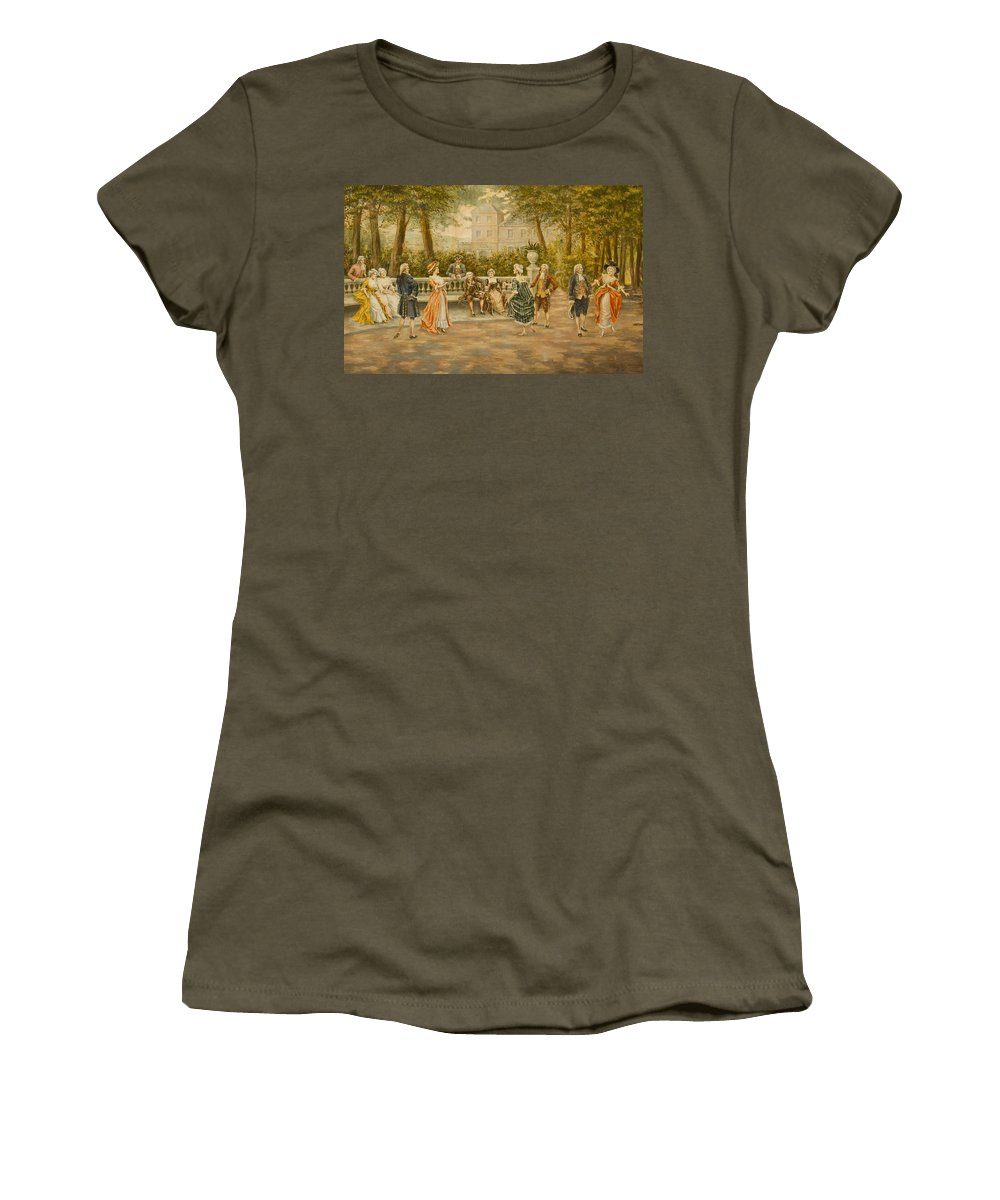 Mariano Alonso Perez(spanish Women's T-Shirt (Athletic Fit) featuring the painting Couples On Veranda Of Chateau by Mariano Alonso