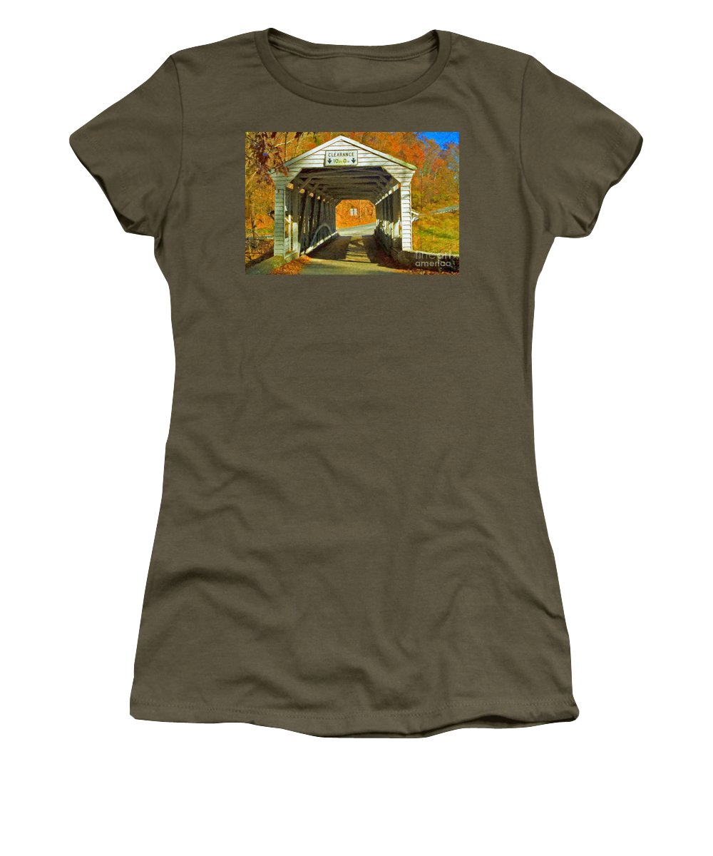 Covered Bridge Revolutionary Civil War Impasto Women's T-Shirt featuring the photograph Covered Bridge Impasto Oil by David Zanzinger