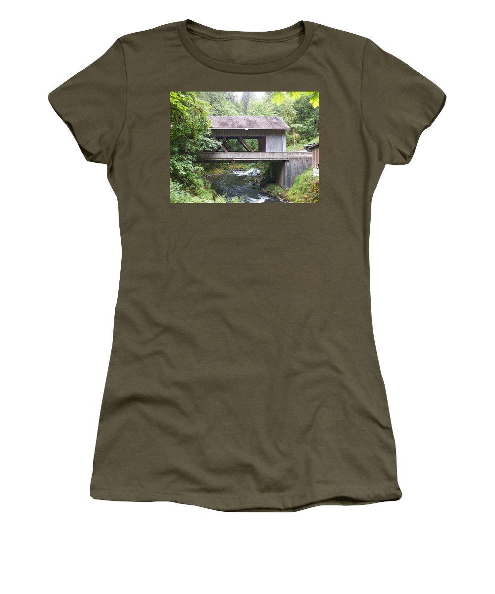 Photography Women's T-Shirt featuring the photograph Covered Bridge Of Cedar Creek by Laurie Kidd