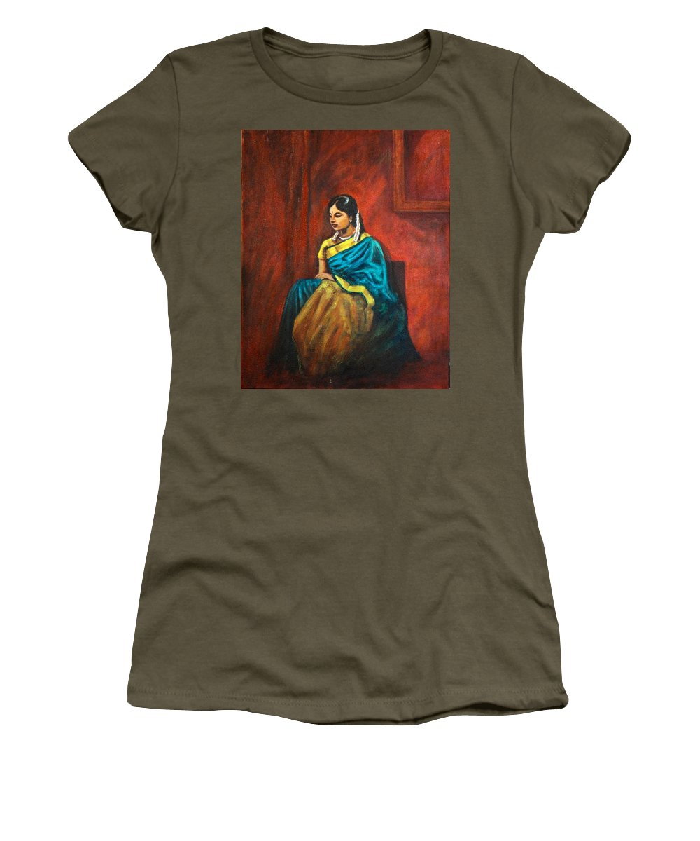 Coy Women's T-Shirt (Athletic Fit) featuring the painting Coy by Usha Shantharam