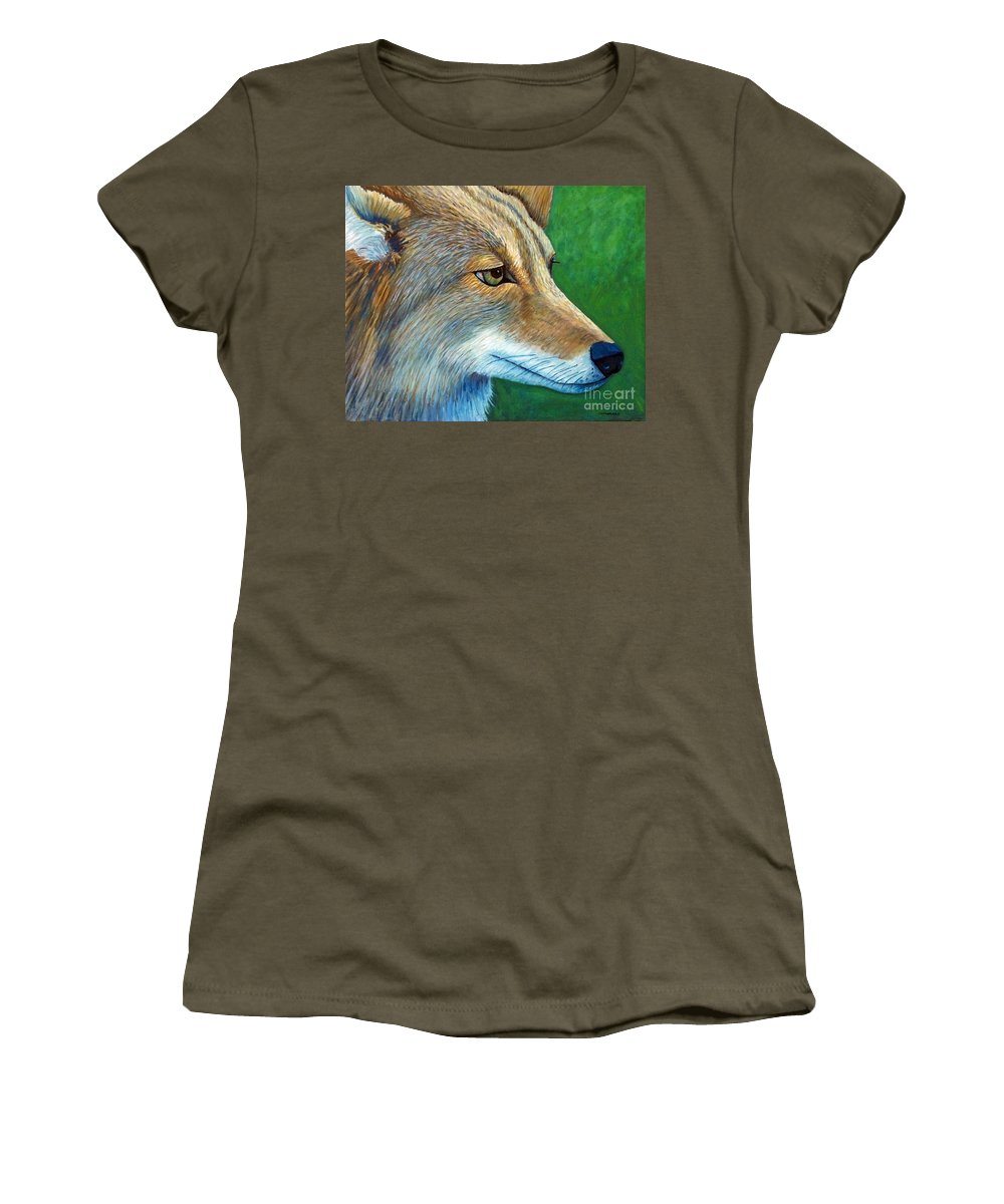 Coyote Women's T-Shirt (Athletic Fit) featuring the painting Coyote Logic by Brian Commerford