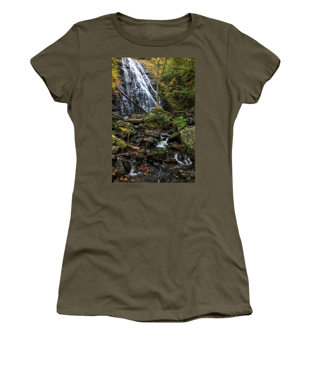 Crabtree Falls Women's T-Shirt featuring the photograph Crabtree Falls In Autumn by Carol Montoya