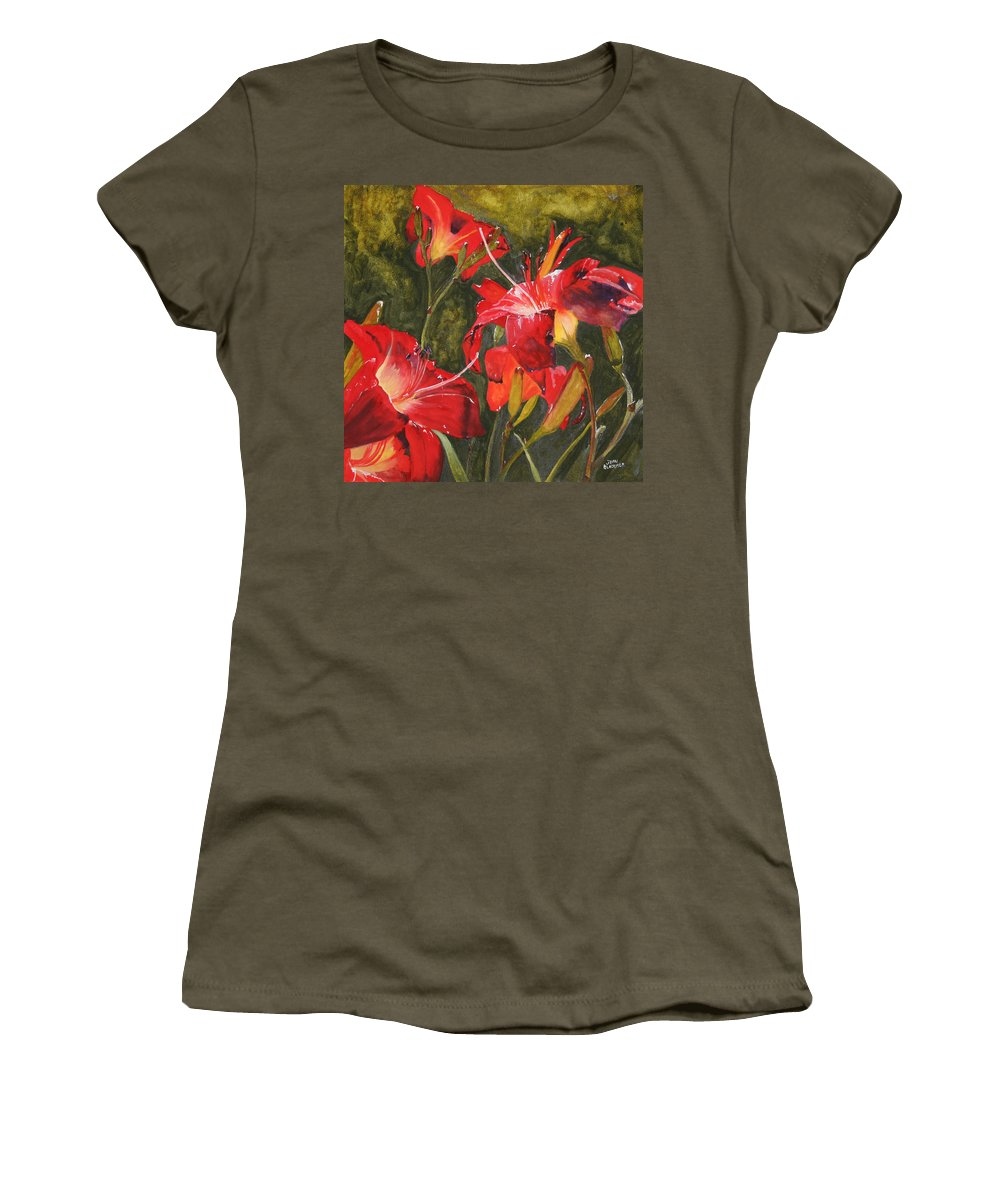 Red Women's T-Shirt (Athletic Fit) featuring the painting Crimson Light by Jean Blackmer