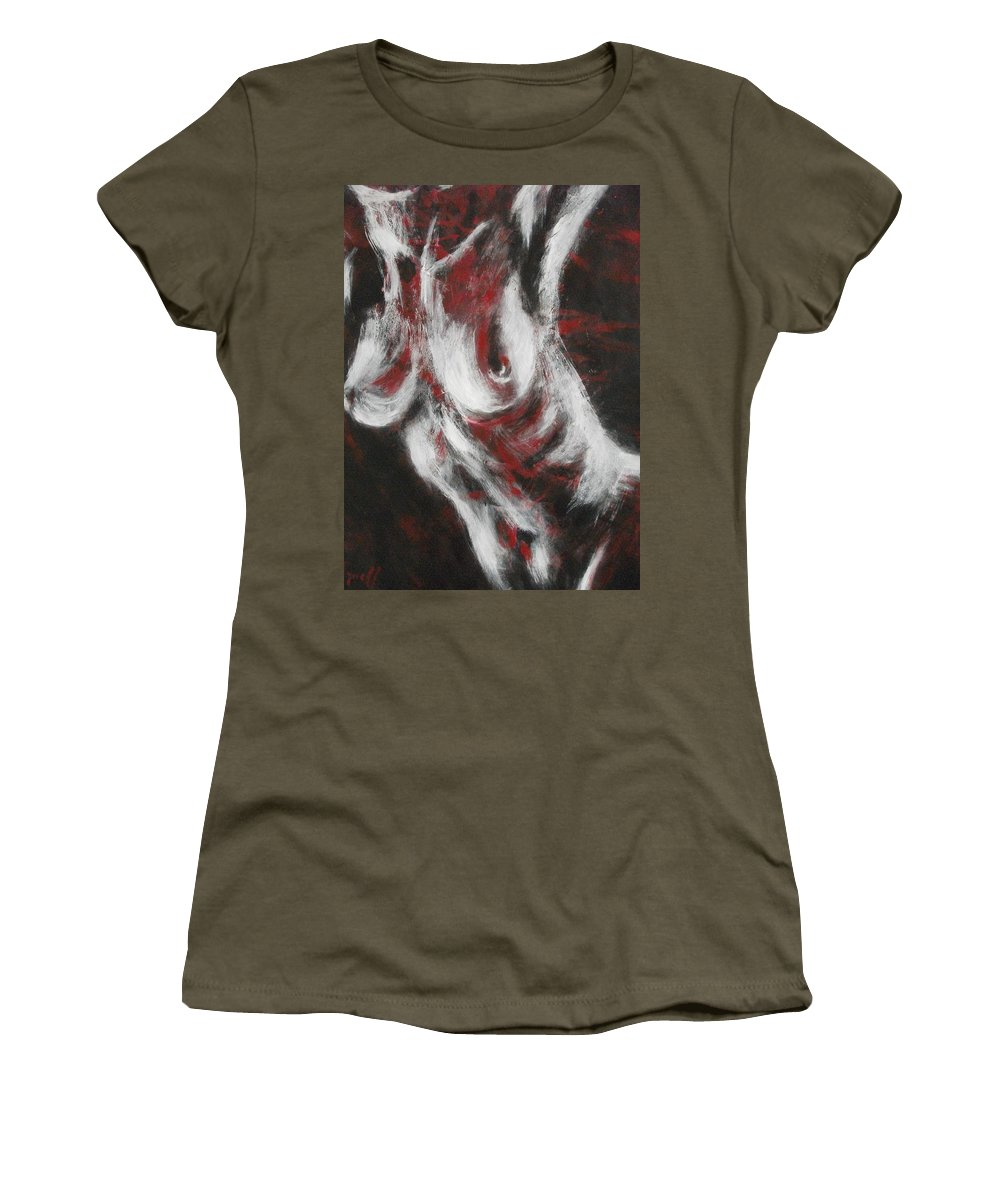 Original Women's T-Shirt featuring the painting Crimson Red by Carmen Tyrrell