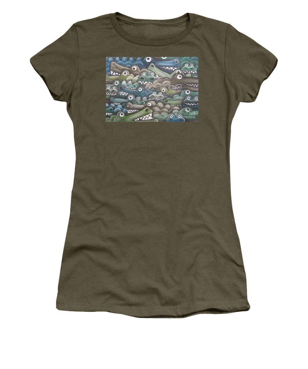 Crocodiles Women's T-Shirt featuring the pastel Crocodile Soup by Caroline Peacock