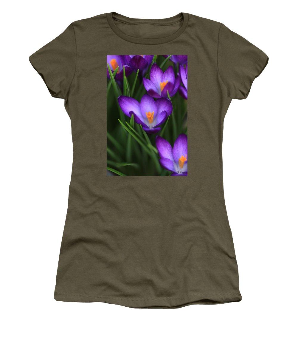 Crocus Women's T-Shirt featuring the photograph Crocus Vividus by Shari Jardina