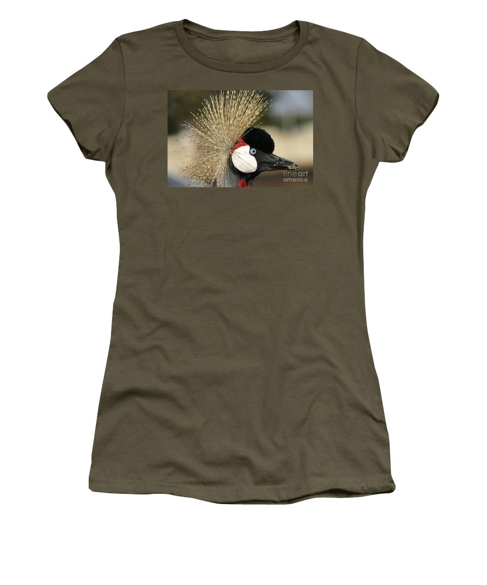 Crowned Women's T-Shirt (Athletic Fit) featuring the photograph Crown Crane Close Up by Danny Yanai