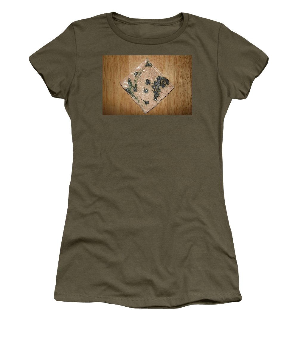 Jesus Women's T-Shirt featuring the ceramic art Crowned - Tile by Gloria Ssali