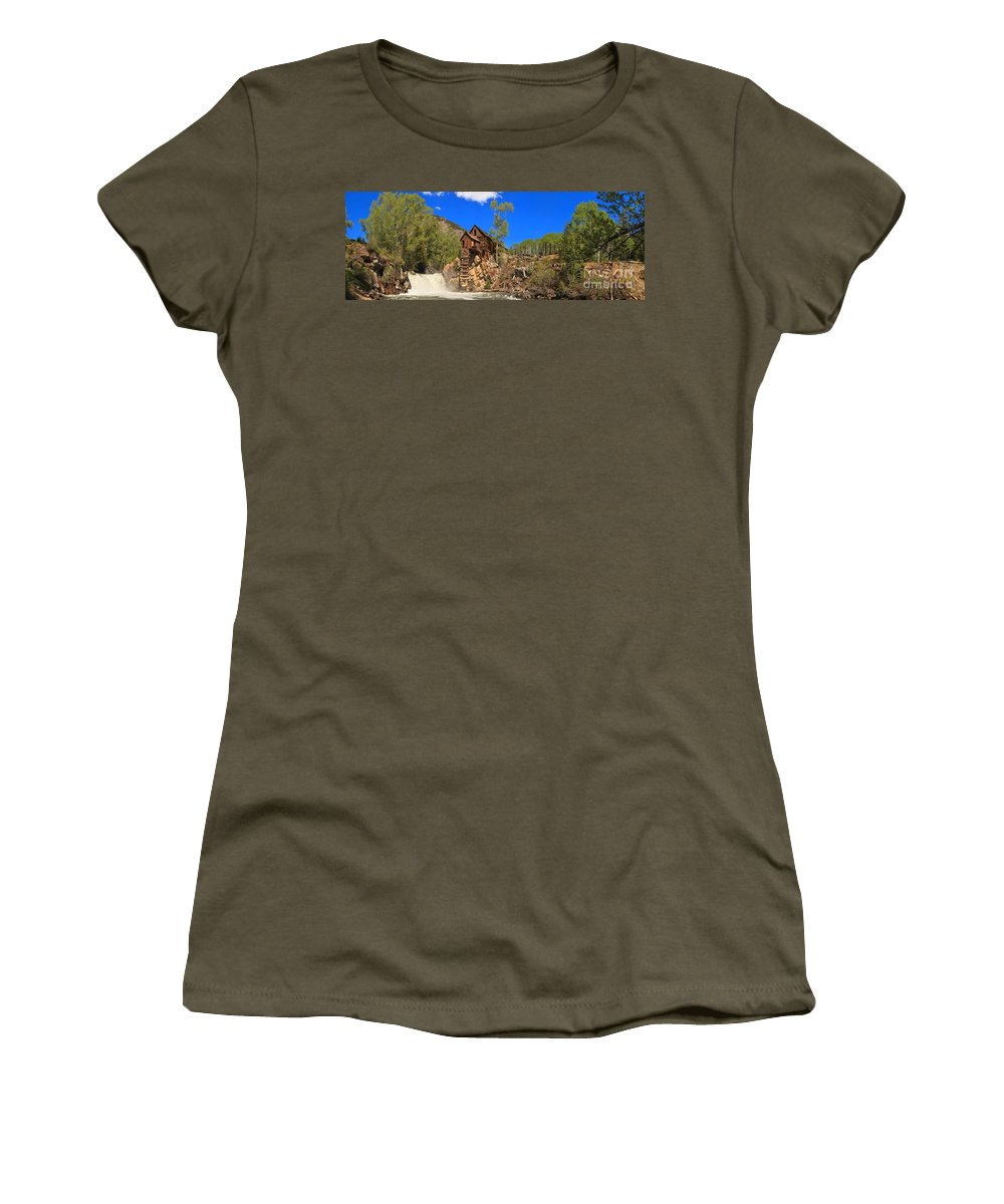 Crystal Mill Women's T-Shirt featuring the photograph Crystal Colorado Historic Mill by Adam Jewell