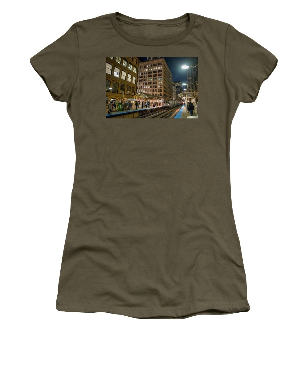 Women's T-Shirt featuring the photograph Cta Pulls Into The State-lake Street Station Chicago Illinois by Jim Pearson