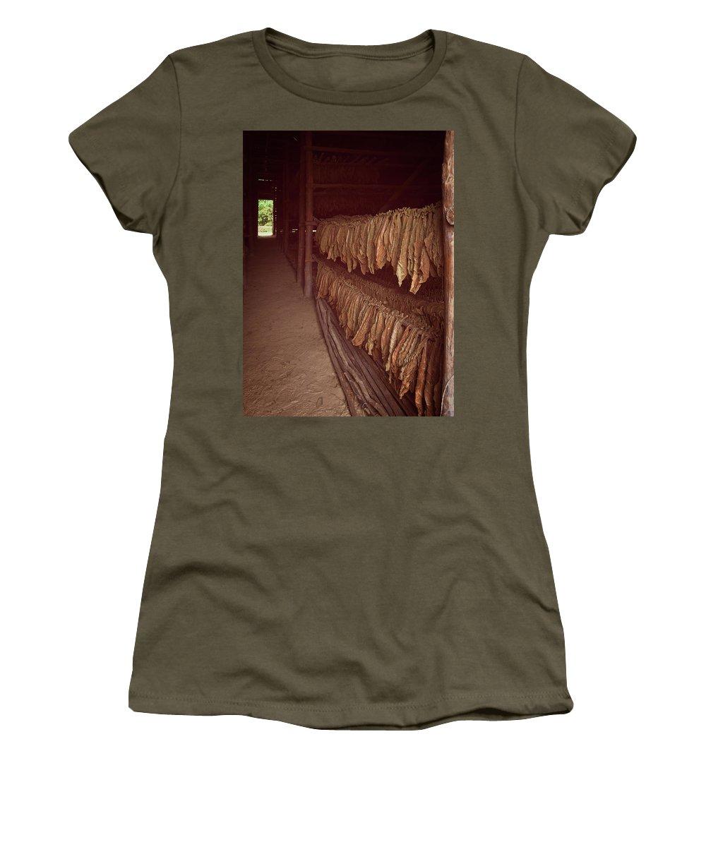 Joan Carroll Women's T-Shirt featuring the photograph Cuban Tobacco Shed by Joan Carroll