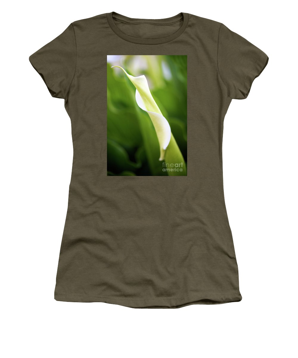 Calla Women's T-Shirt featuring the photograph Curled Calla by Brooke Roby