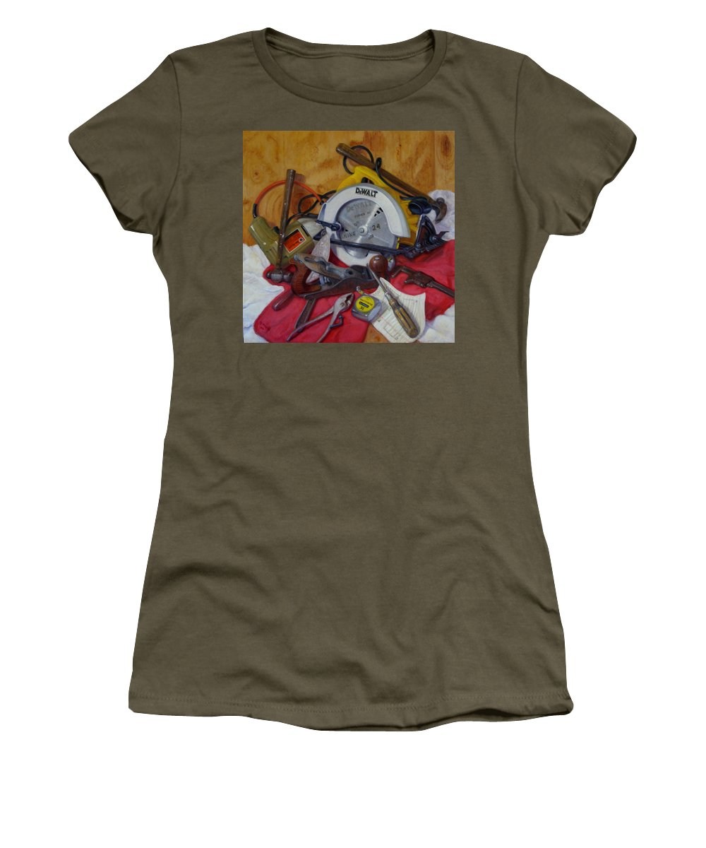 Realism Women's T-Shirt (Athletic Fit) featuring the painting D. I. Y. 2  by Donelli DiMaria