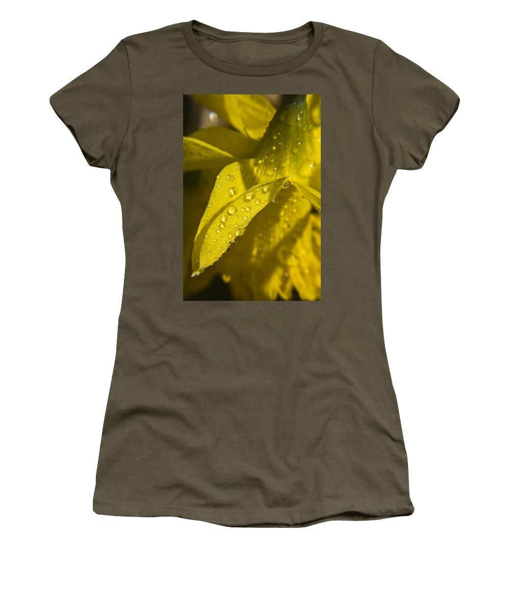 Daffodil Women's T-Shirt (Athletic Fit) featuring the photograph Daffodil Dew by Teresa Mucha