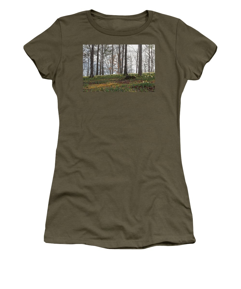 America Women's T-Shirt (Athletic Fit) featuring the photograph Daffodil Hill by Todd Hughes