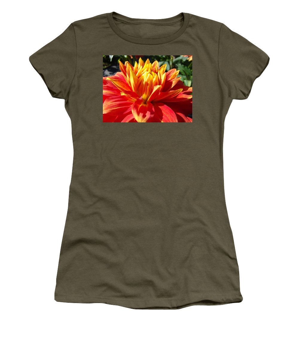 Dahlia Women's T-Shirt (Athletic Fit) featuring the photograph Dahlia Florals Orange Dahlia Flower Art Prints Canvas by Baslee Troutman