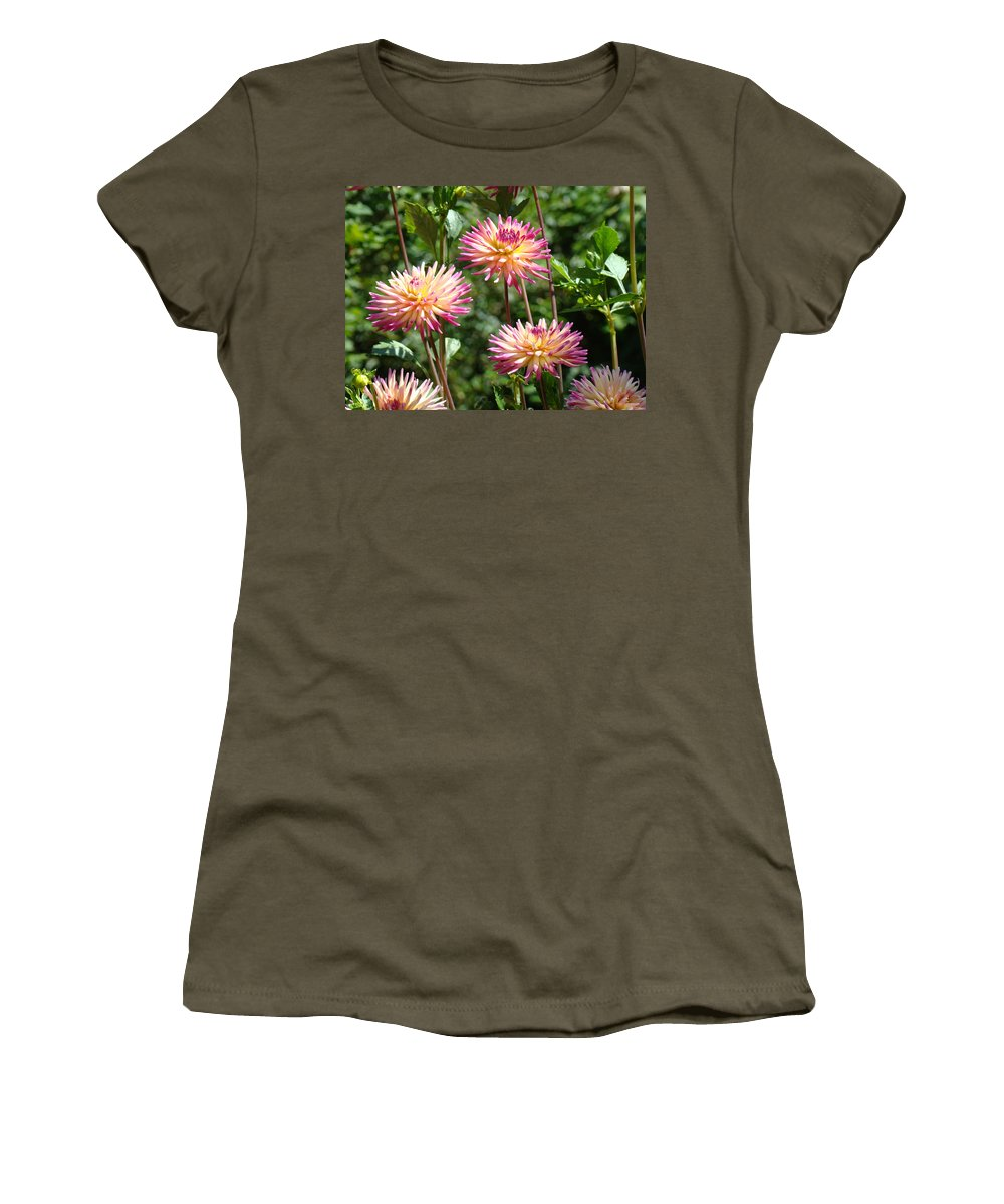 Dahlia Women's T-Shirt featuring the photograph Dahlia Garden Floral Pink Yellow Botanical Landscape Baslee Troutman by Baslee Troutman