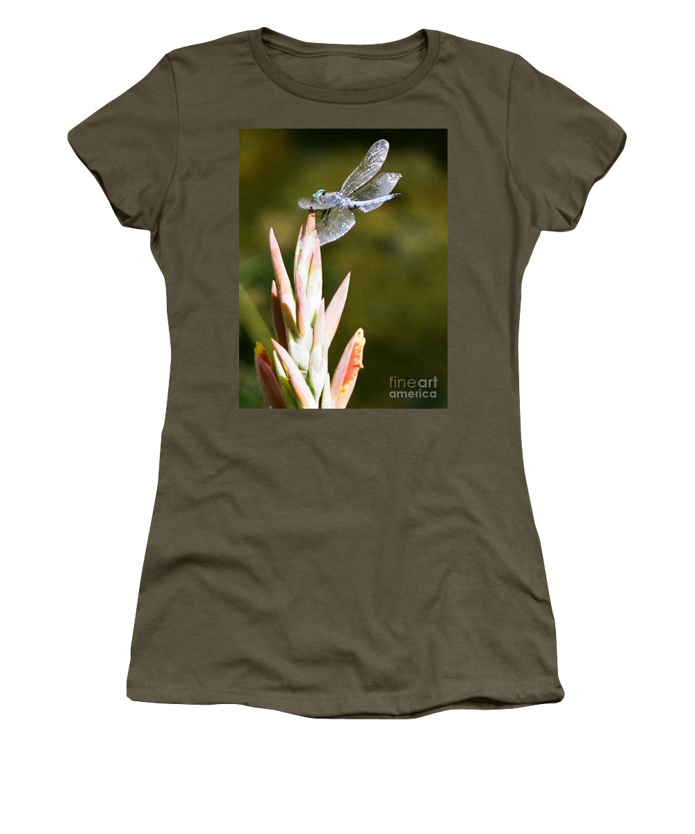 Dragonfly Women's T-Shirt (Athletic Fit) featuring the photograph Damselfly by Dean Triolo