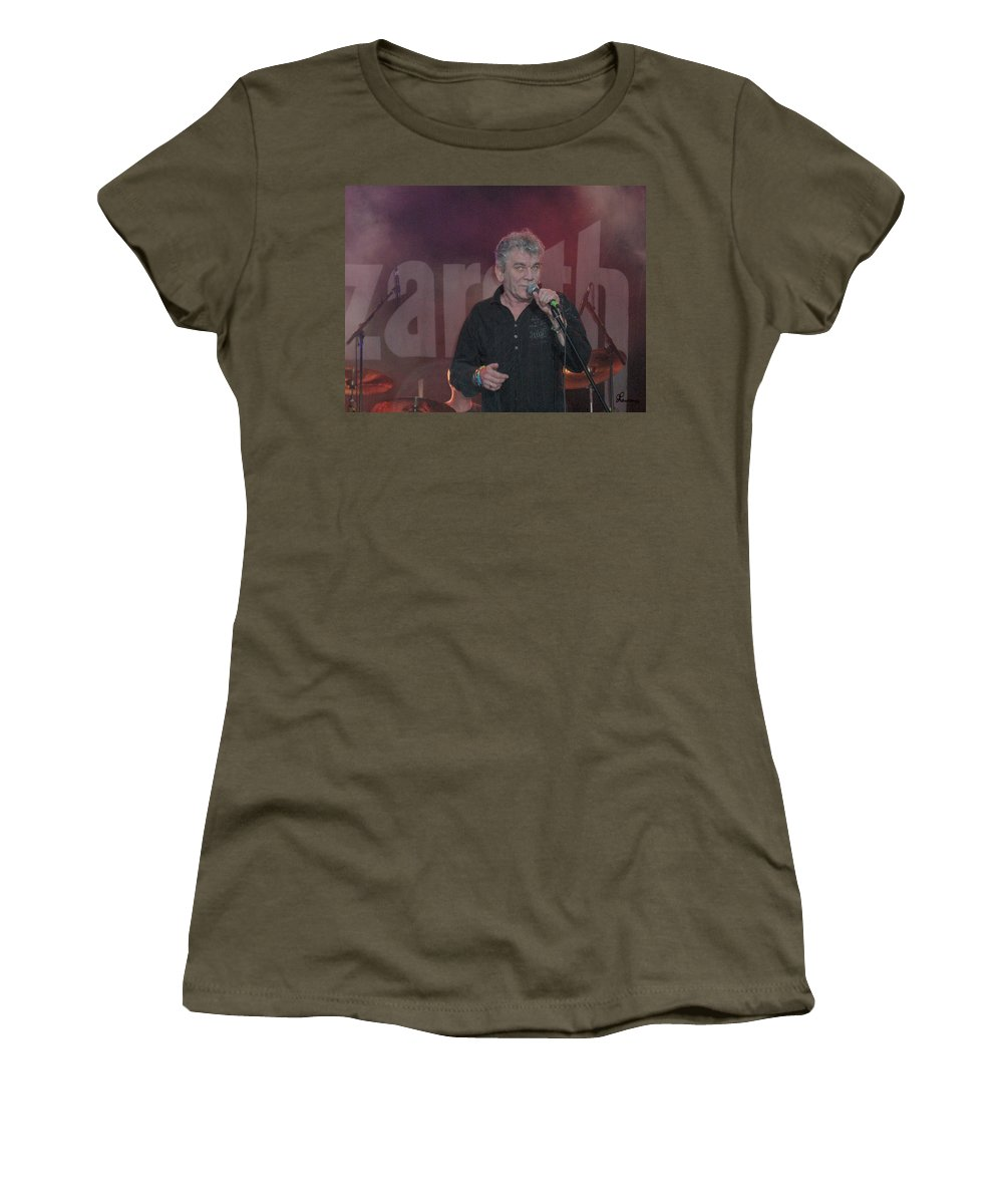 Dan Mcafferty Nazareth Band Music Classic Rock And Roll Singer Women's T-Shirt featuring the photograph Dan Mccafferty by Andrea Lawrence