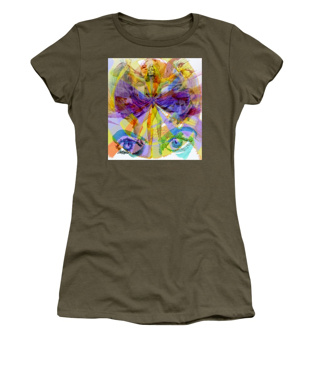 Dance Of The Rainbow Women's T-Shirt (Athletic Fit) featuring the digital art Dance Of The Rainbow by Seth Weaver
