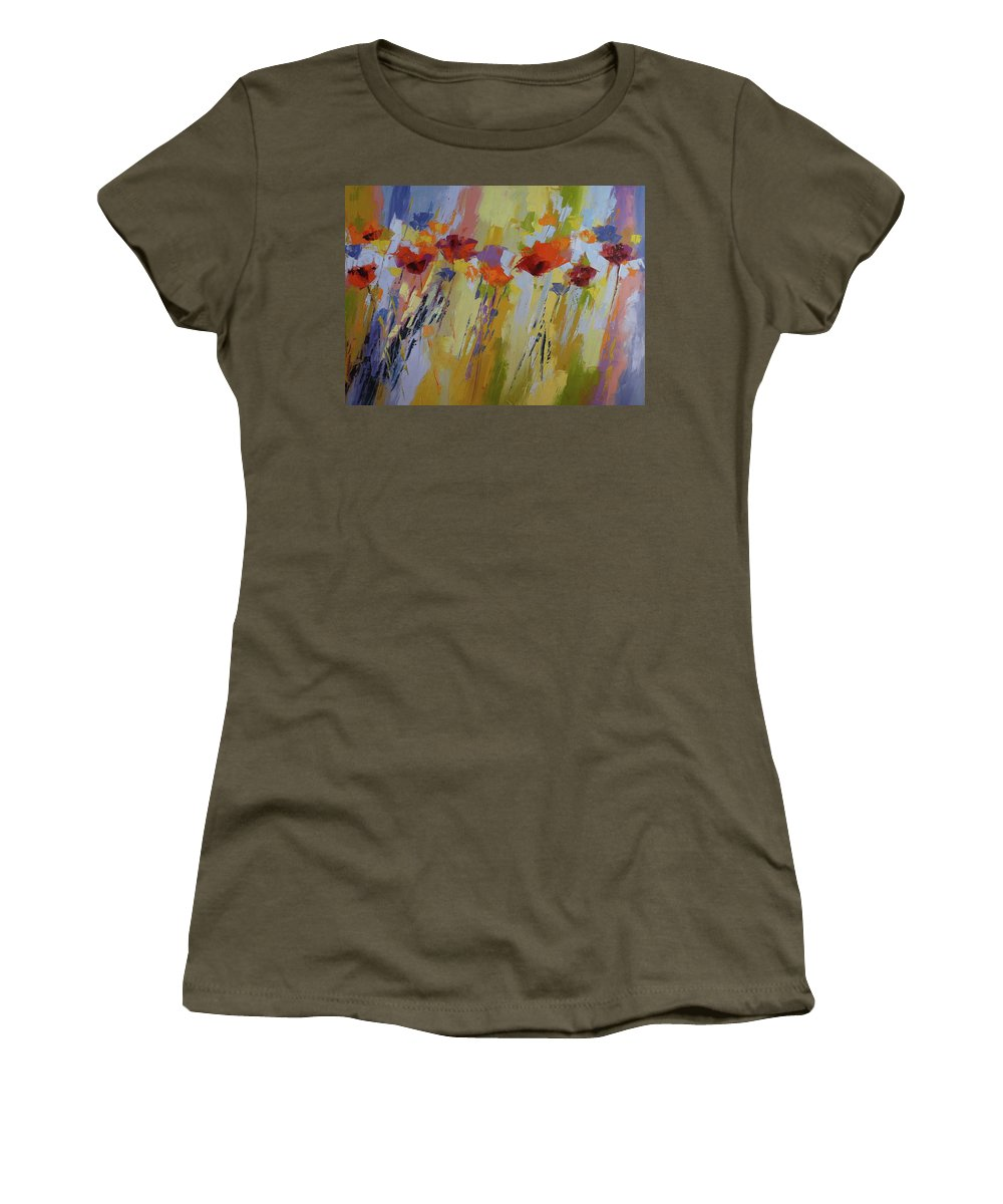 Poppies Women's T-Shirt featuring the painting Dancing Ladies by Yvonne Ankerman