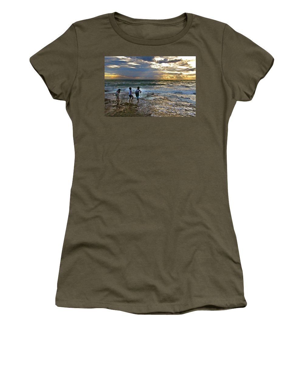 Beach Women's T-Shirt featuring the photograph Dancing On The Beach by Charuhas Images