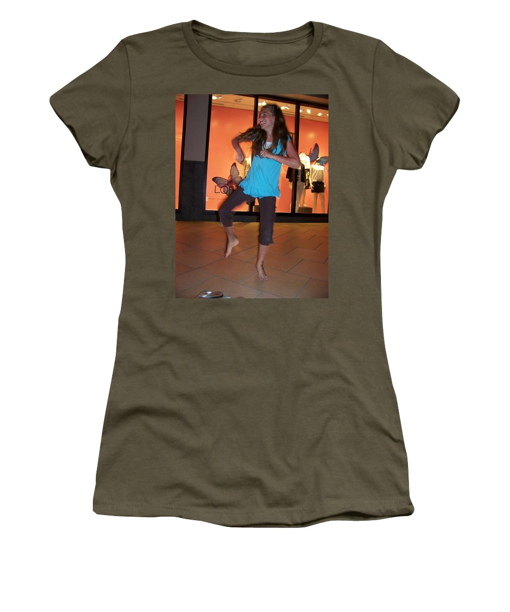Girl Women's T-Shirt (Athletic Fit) featuring the photograph Dancing Young Girl by Laurie Paci