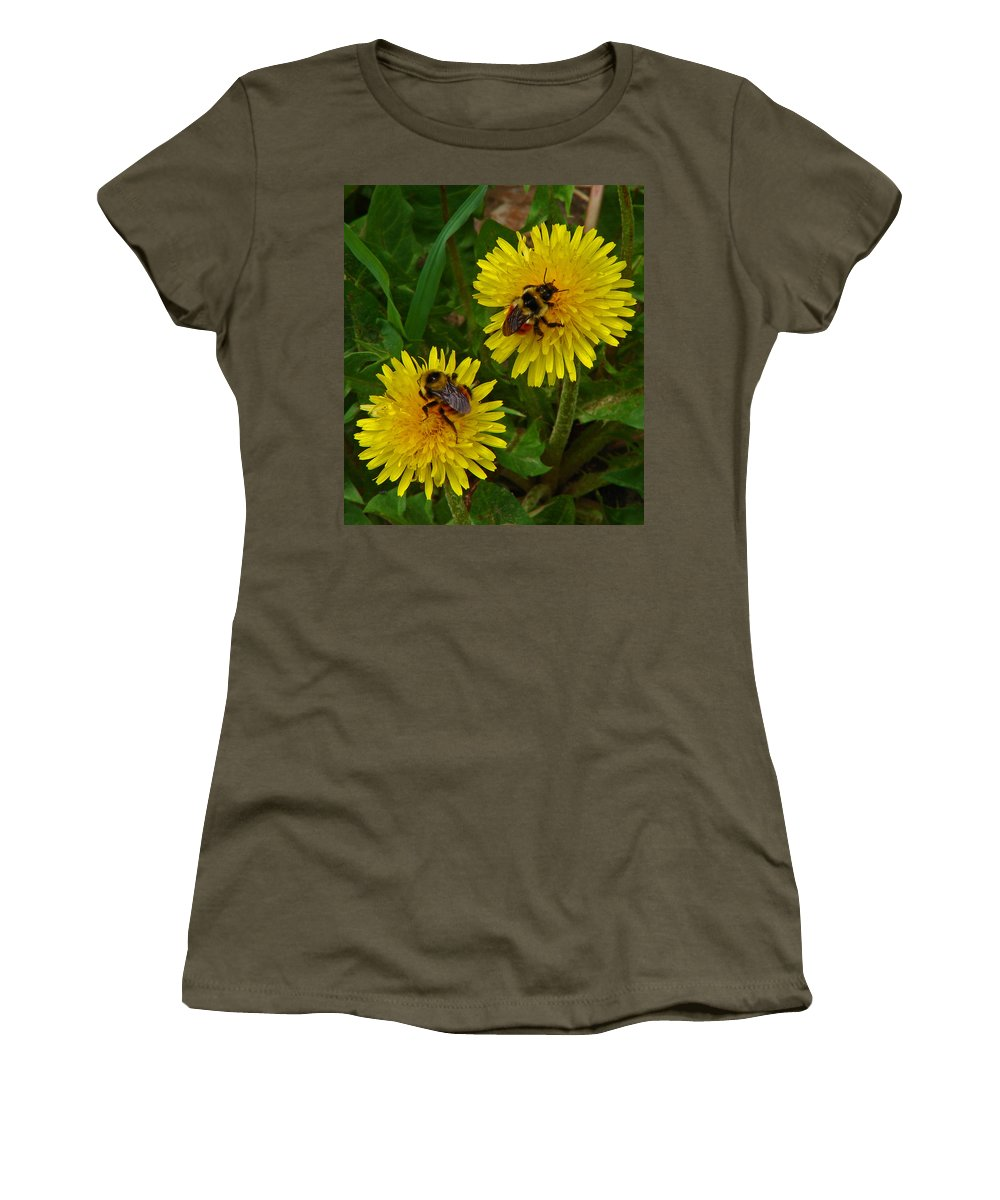 Dandelion Women's T-Shirt (Athletic Fit) featuring the photograph Dandelions And Bees by Heather Coen
