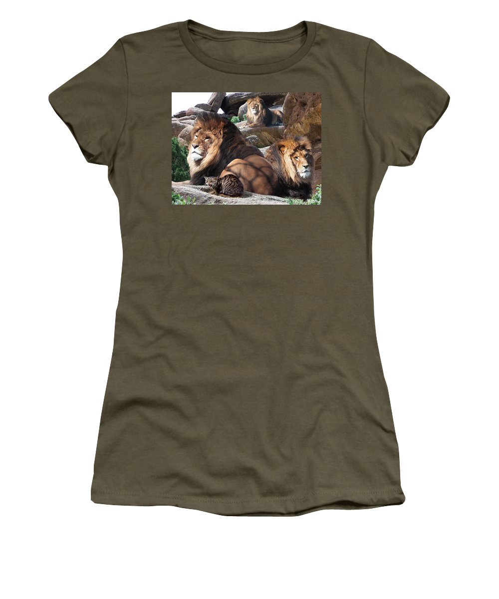 Lions Women's T-Shirt featuring the mixed media Daniel In The Lion by Bill Stephens