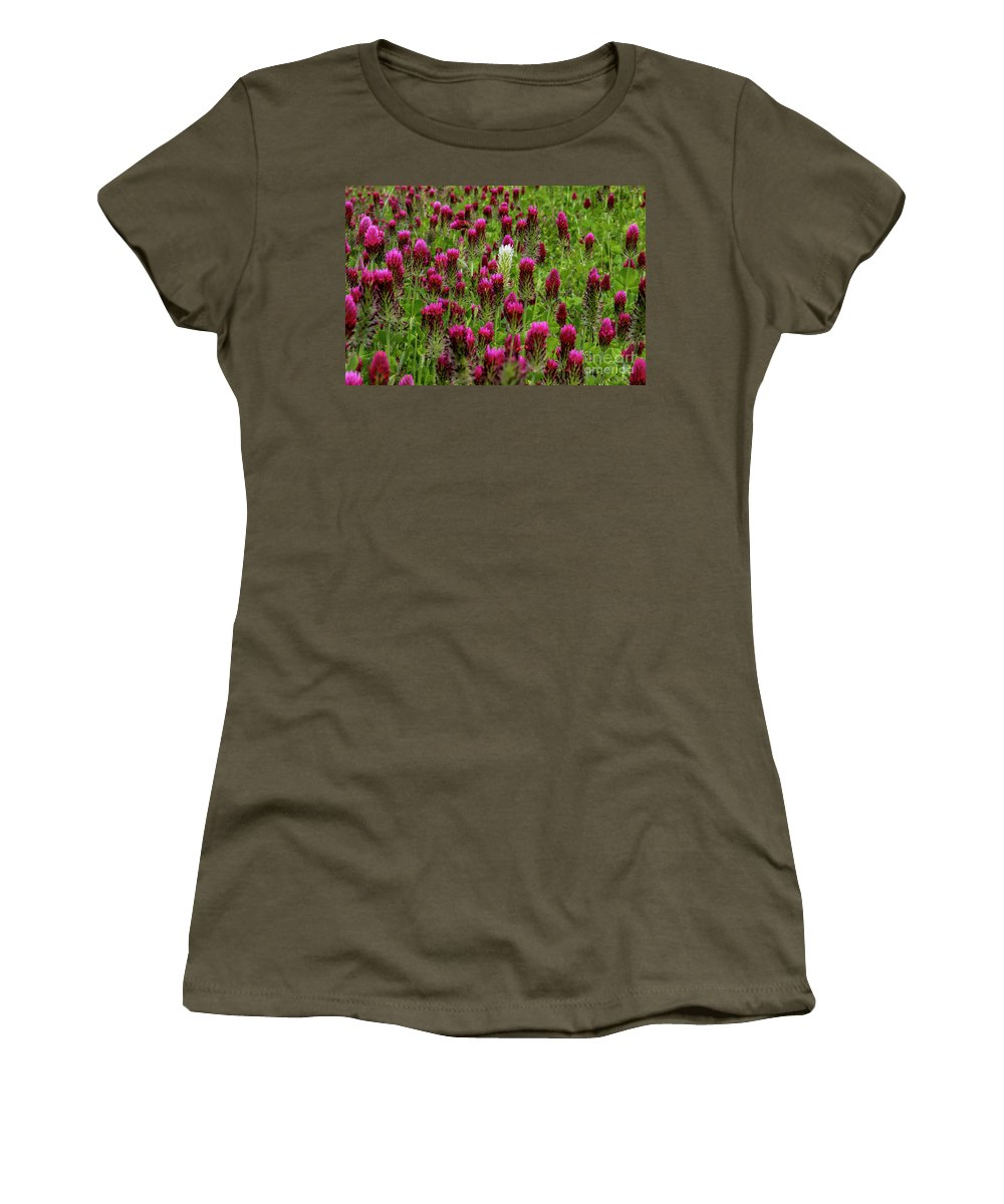 Crimson Clover Women's T-Shirt featuring the photograph Dare To Be Different by Barbara Bowen