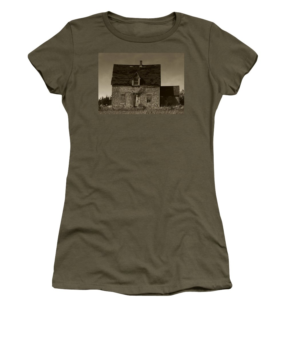 Old House Women's T-Shirt (Athletic Fit) featuring the photograph Dark Day On Lonely Street by RC DeWinter