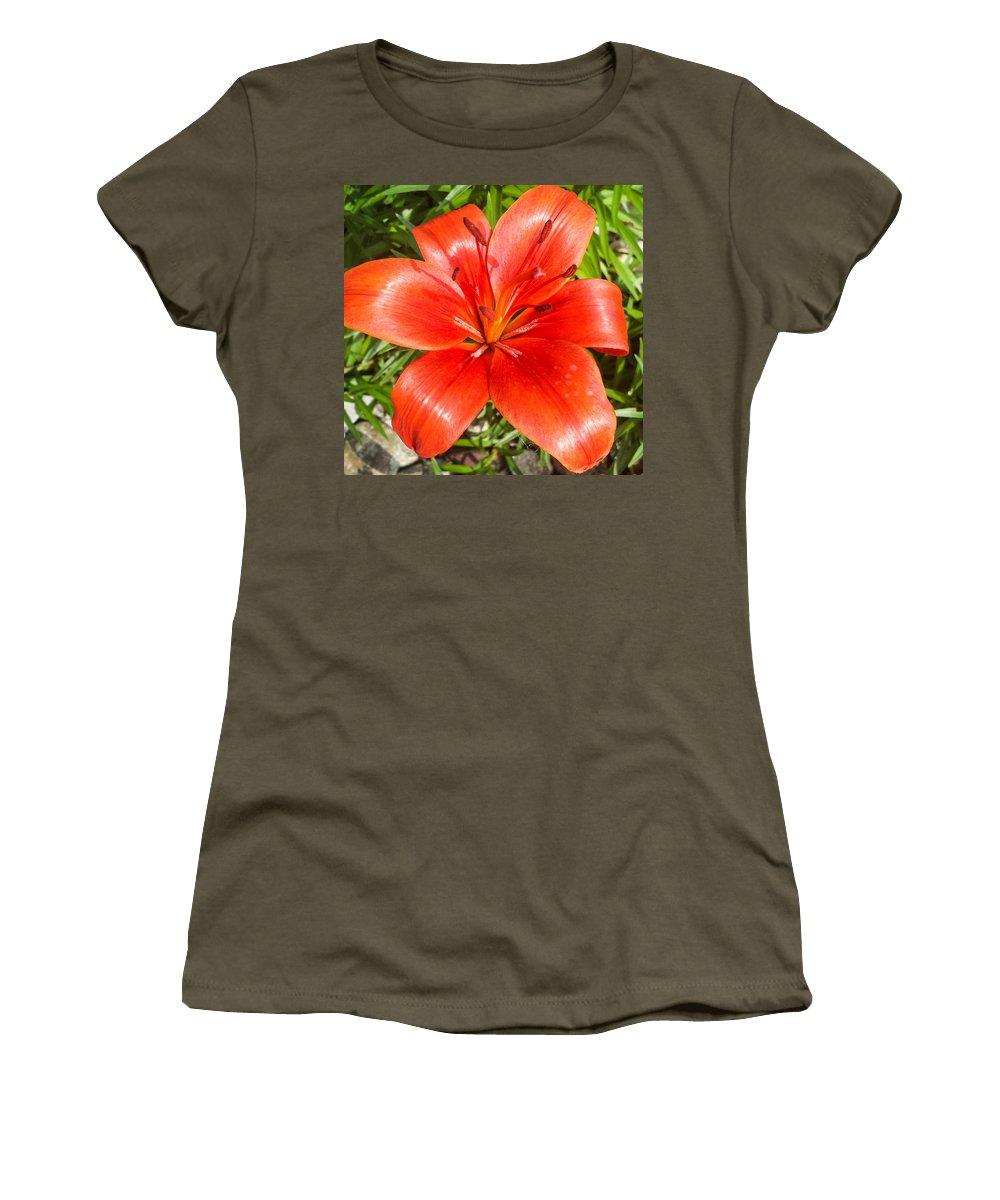 Dark Orange Women's T-Shirt featuring the photograph Dark Orange Red Lily II by Jennifer Kohler