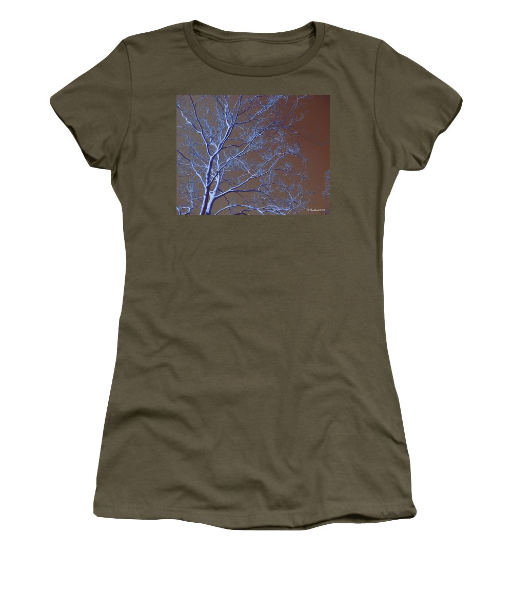 Tree Women's T-Shirt featuring the photograph Dark Woods by Betty Northcutt