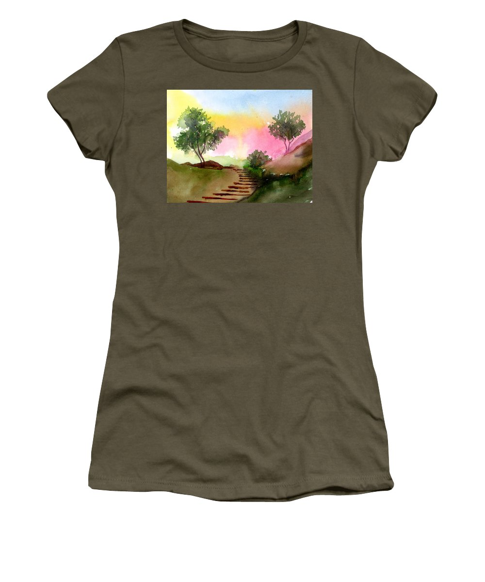 Landscape Women's T-Shirt (Athletic Fit) featuring the painting Dawn by Anil Nene