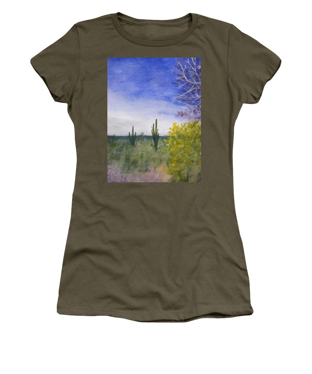 Arid Women's T-Shirt featuring the painting Day In Arizona Desert by Lee Serenethos