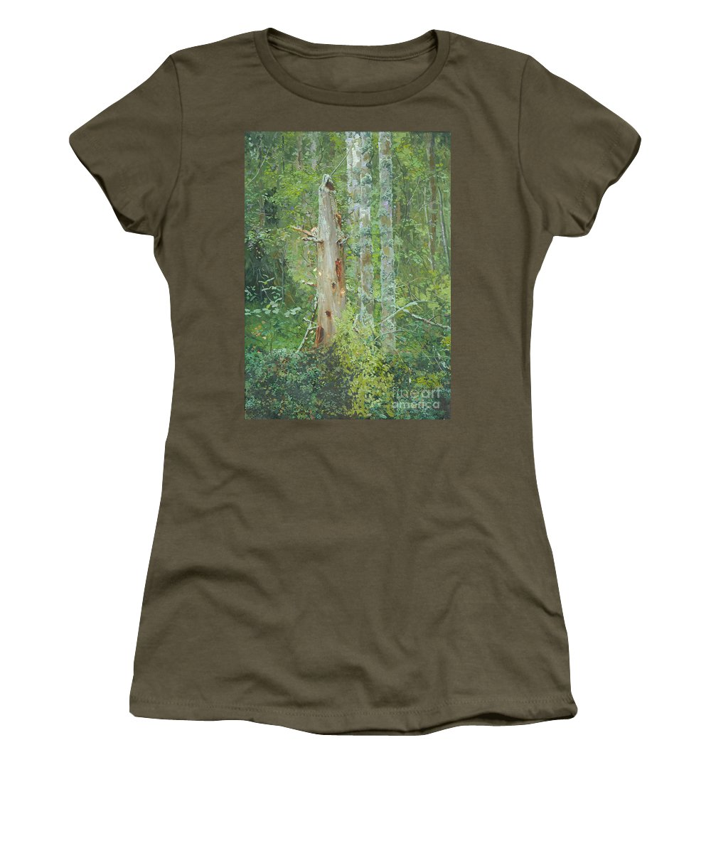 Old Tree Women's T-Shirt (Athletic Fit) featuring the painting Dead Tree by Simon Kozhin