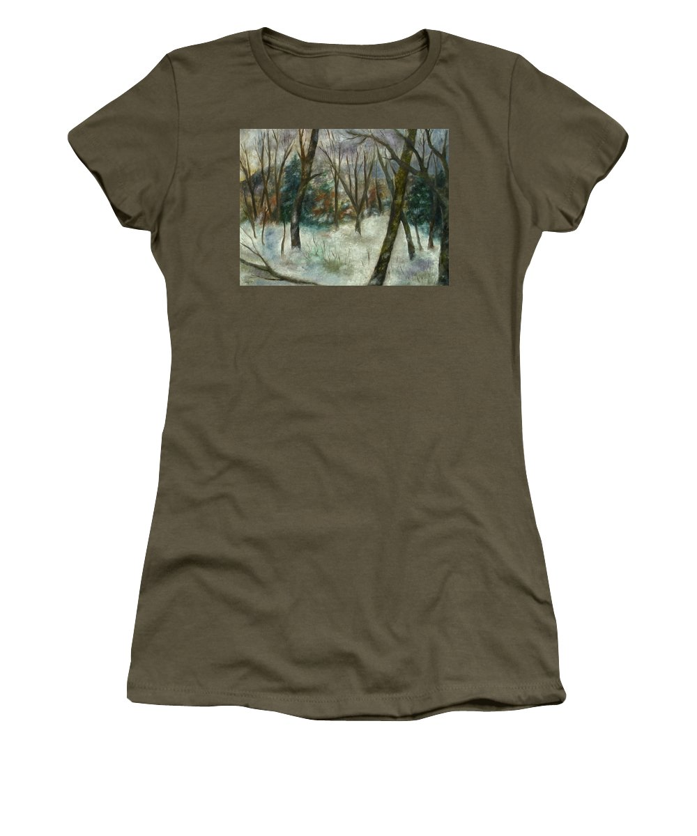 Forest Women's T-Shirt featuring the painting December On Cooper Hill by FT McKinstry