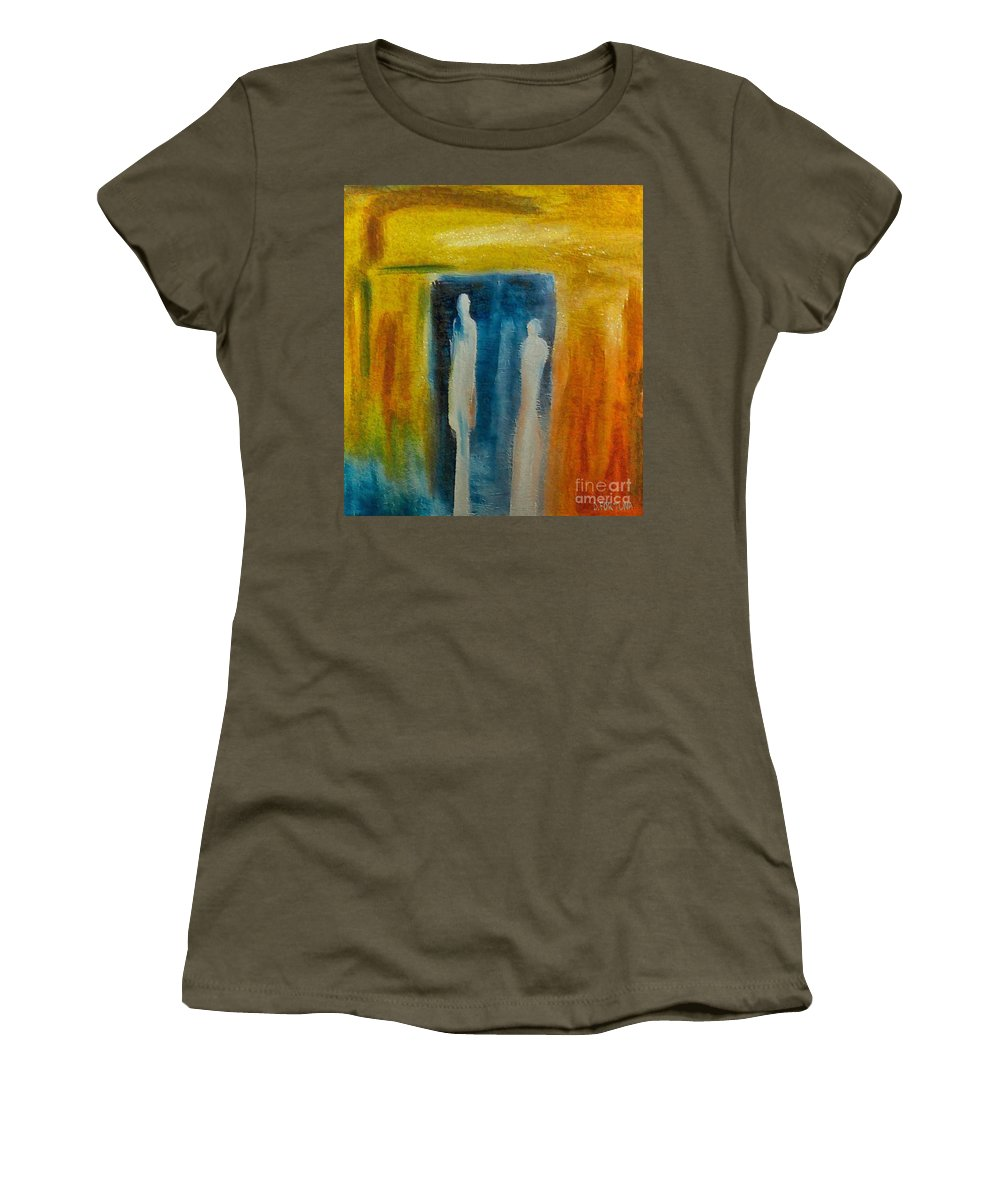Mixed Media Women's T-Shirt (Athletic Fit) featuring the mixed media Decision by Dragica Micki Fortuna