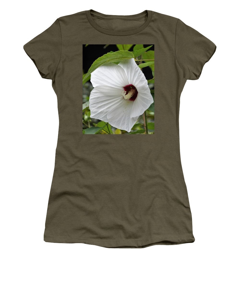 Floral Women's T-Shirt featuring the photograph Delicate White by Sally Falkenhagen
