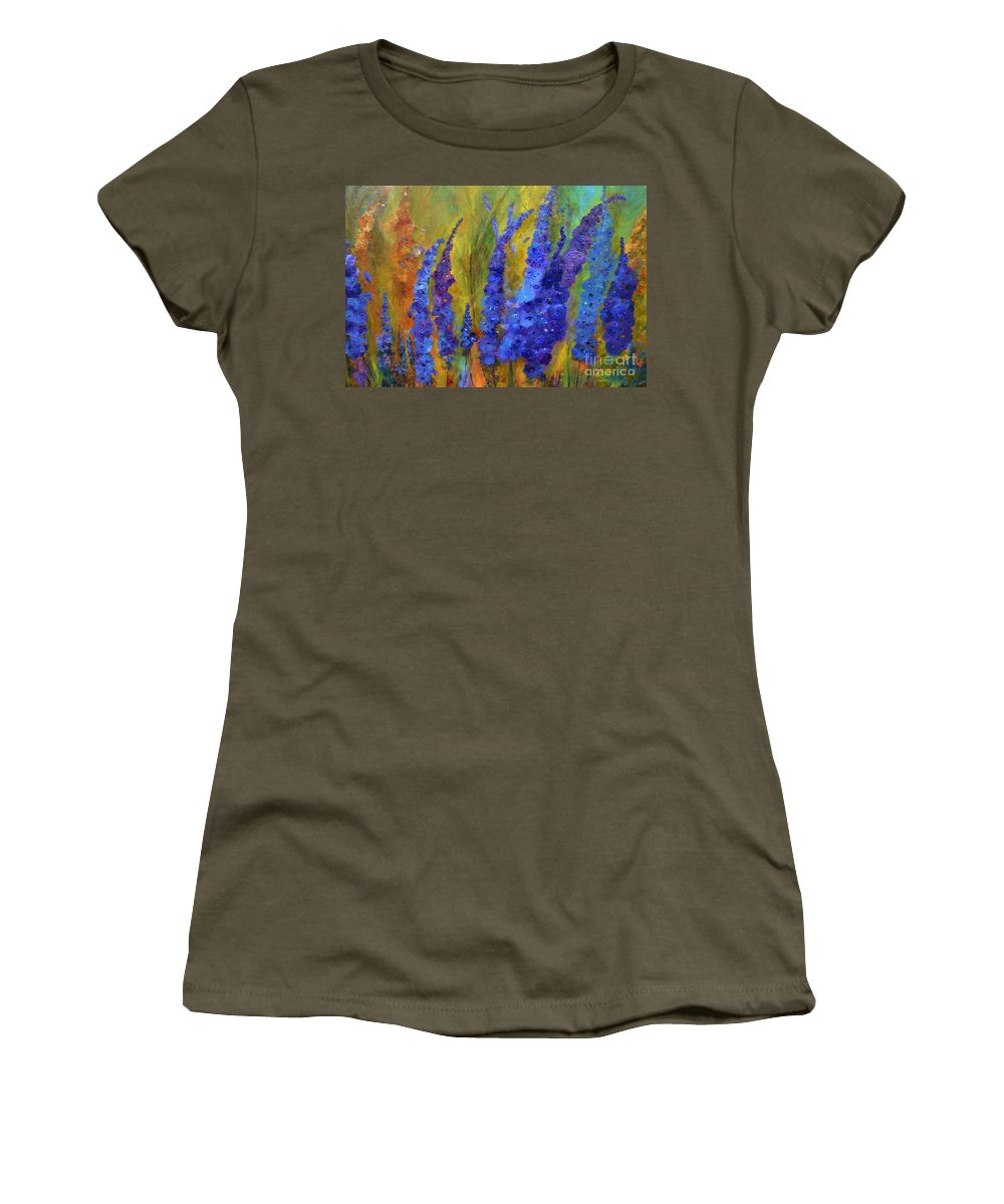 Delphiniums Women's T-Shirt featuring the painting Delphiniums by Claire Bull