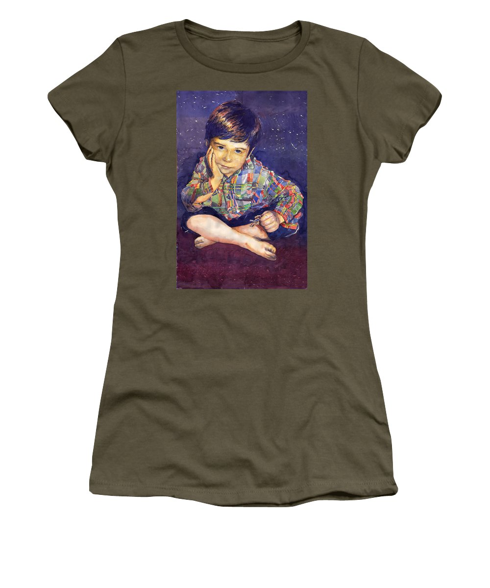 Watercolor Watercolour Portret Figurativ Realism People Commissioned Women's T-Shirt (Athletic Fit) featuring the painting Denis 01 by Yuriy Shevchuk