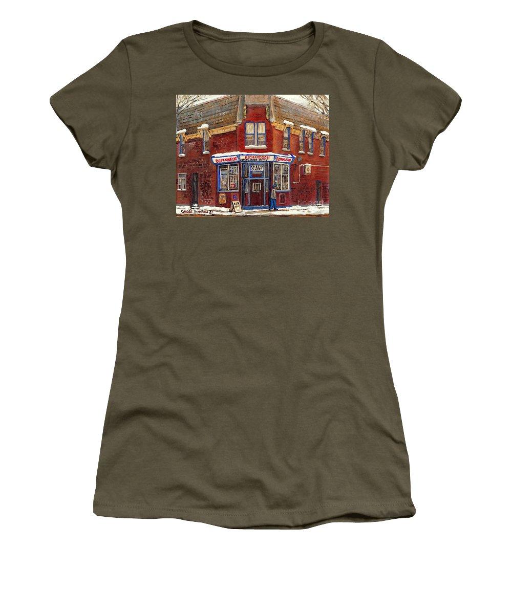 Montreal Depanneur Paintings Women's T-Shirt featuring the painting Depanneur De Montreal Pointe St Charles Best Original Montreal Paintings On Sale Peintures A Vendre by Carole Spandau
