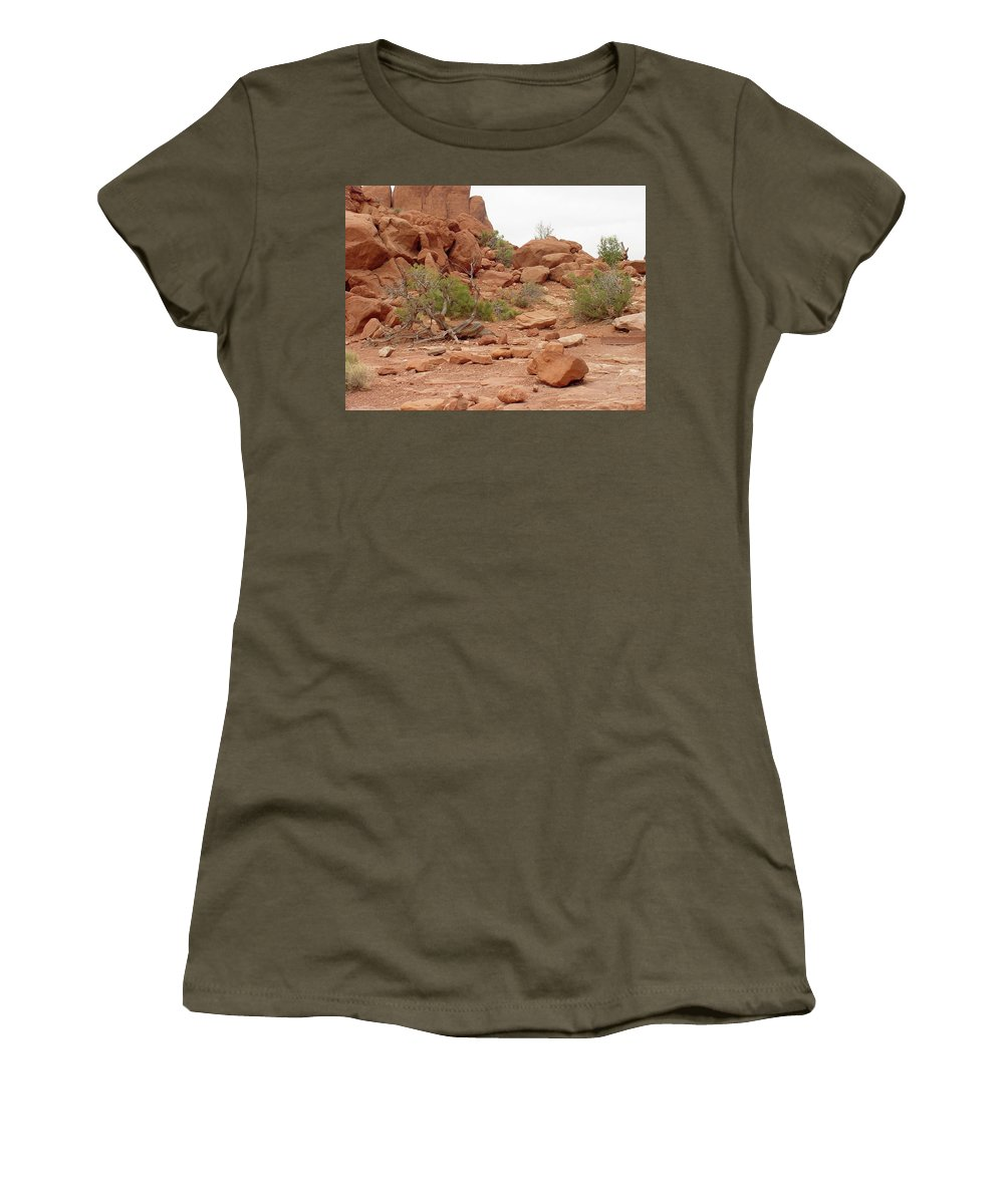 Arches National Park Women's T-Shirt (Athletic Fit) featuring the photograph Desert Elements 5 by Dawn Amber Hood