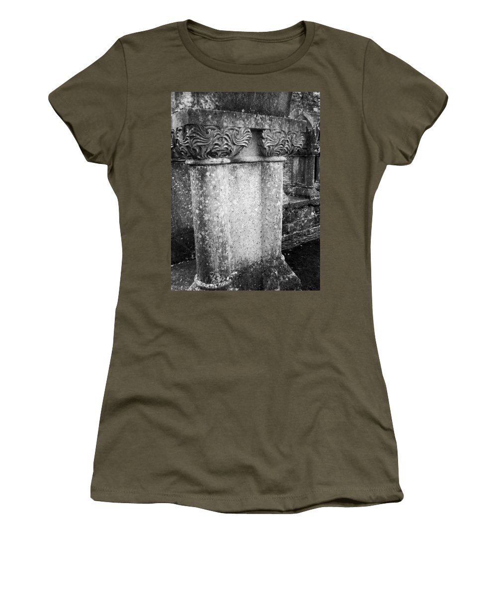 Irish Women's T-Shirt (Athletic Fit) featuring the photograph Detail Of Capital Of Cloister At Cong Abbey Cong Ireland by Teresa Mucha
