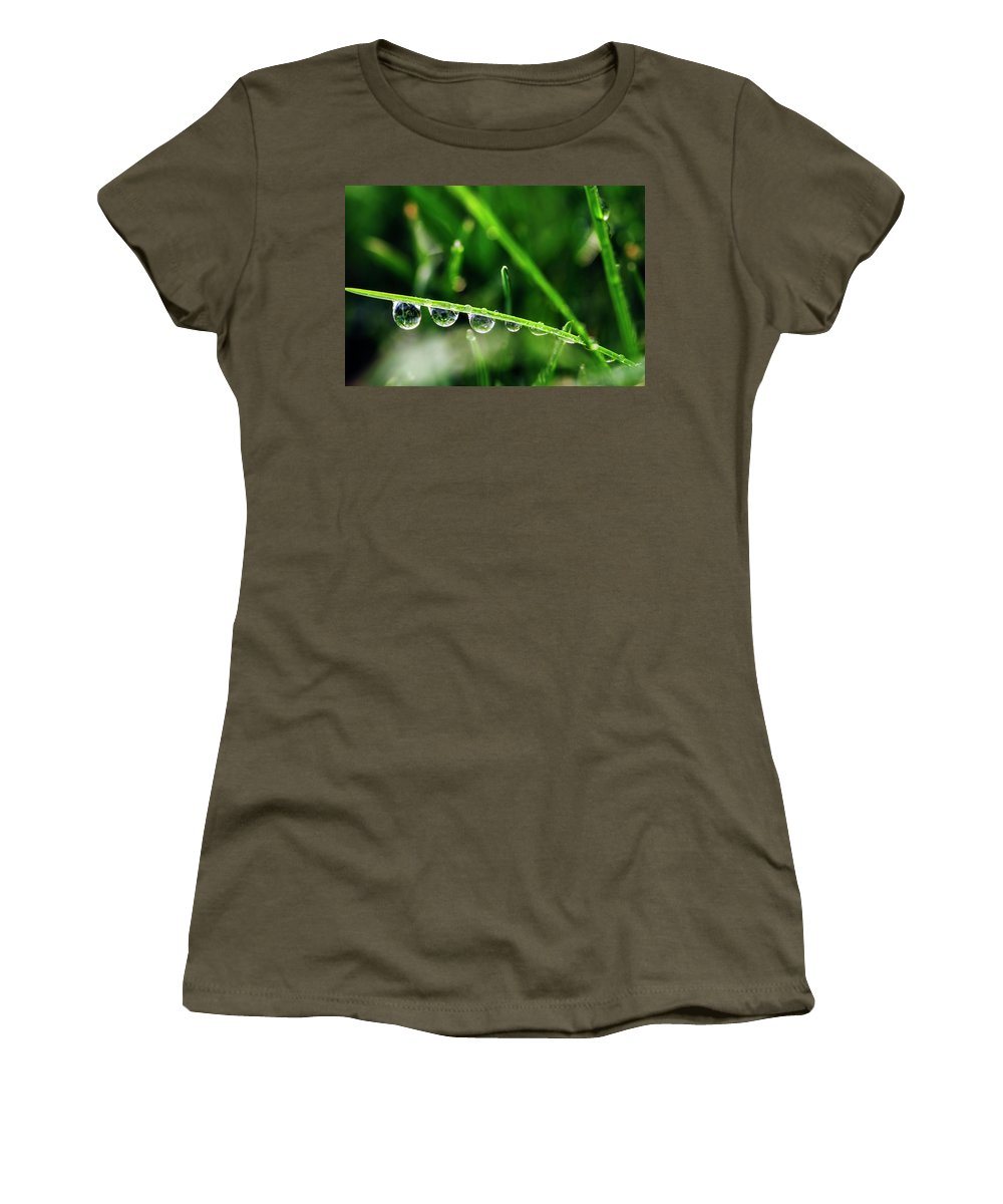 Dew Women's T-Shirt (Athletic Fit) featuring the photograph Dew Drops On Blade Of Grass by Vishwanath Bhat